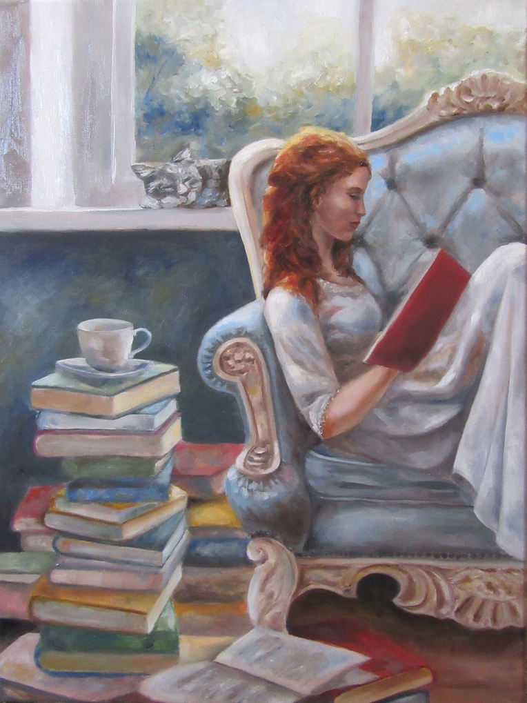 girl reading book oil painting