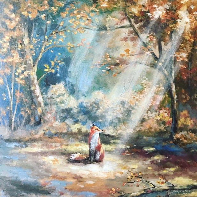 autumn fox forest acrylic painting