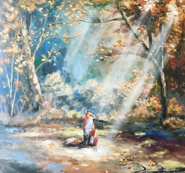 autumn fox forest acrylic painting