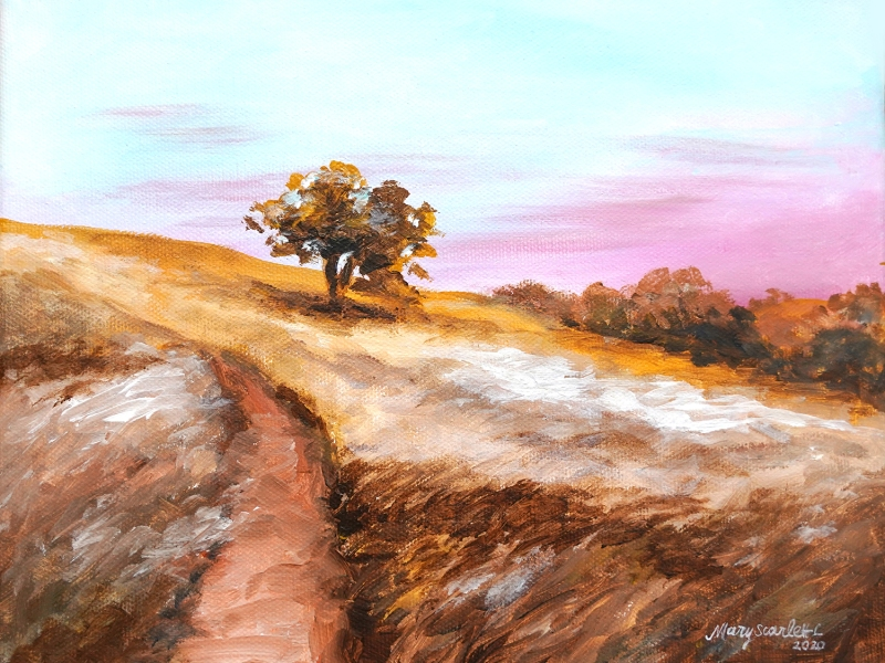 autumn field landscape painting