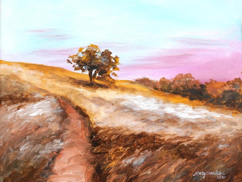 autumn field landscape painting