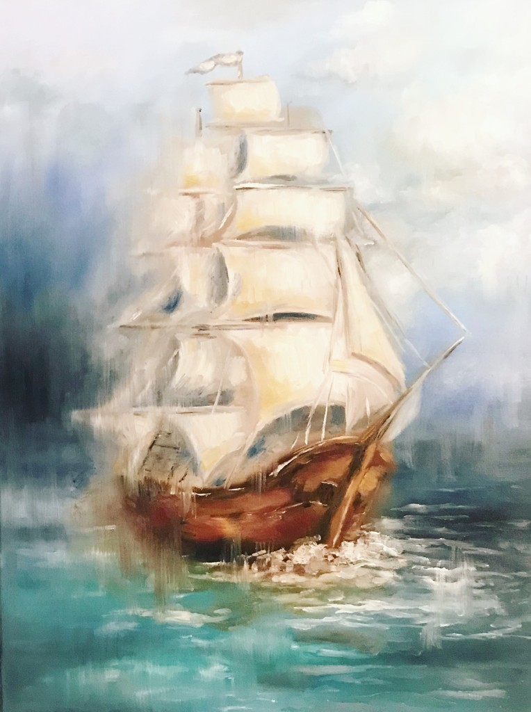 ship ocean oil painting