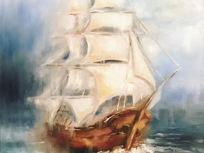 ship ocean oil painting