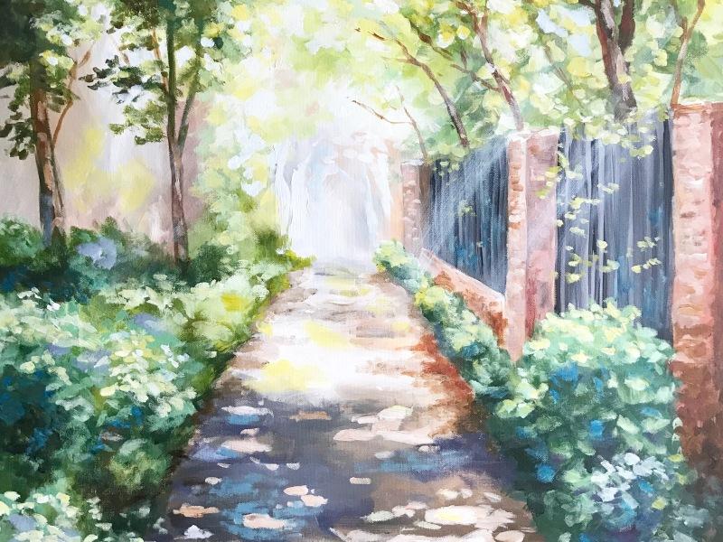 pathway landscape acrylic painting