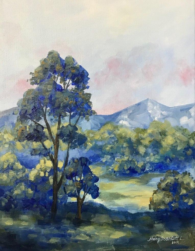 blue mist acrylic landscape painting