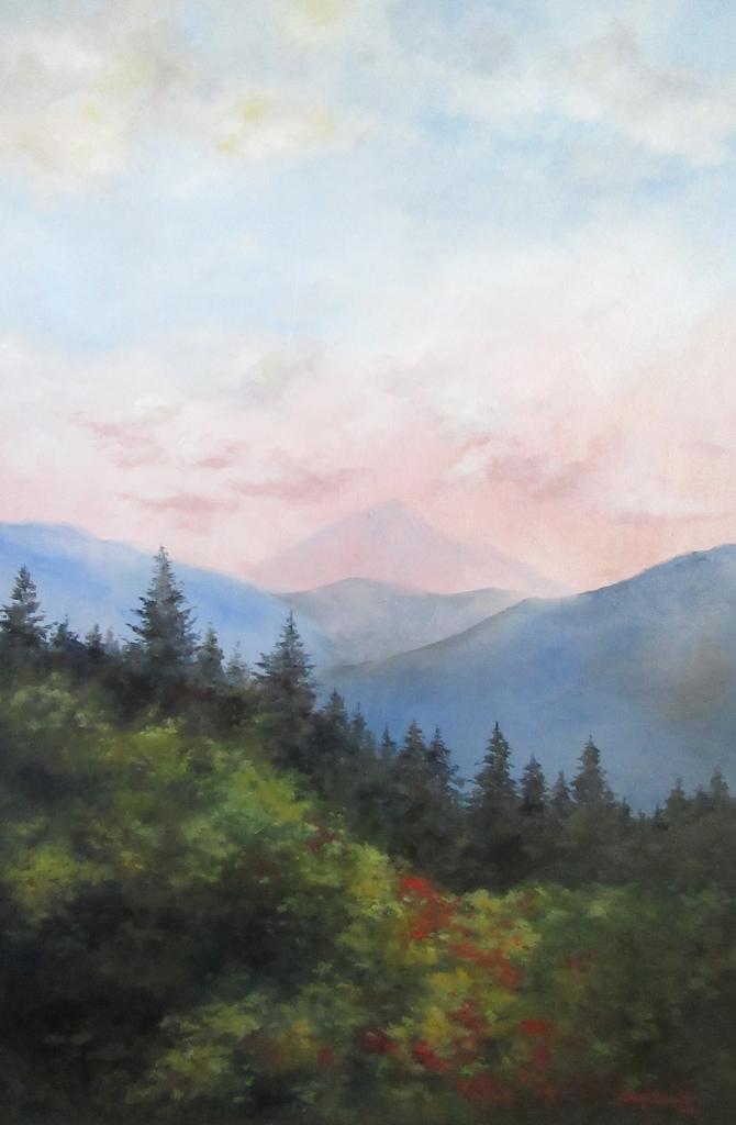 pine mountain landscape oil painting