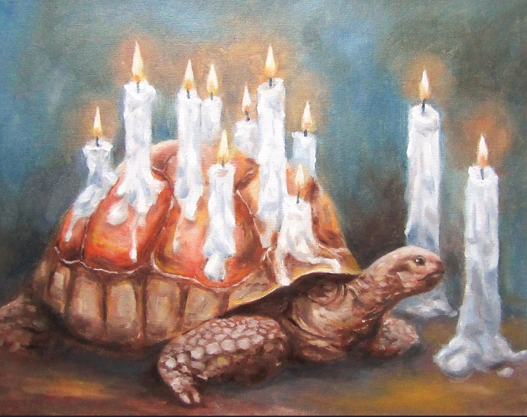 tortoise surreal oil painting
