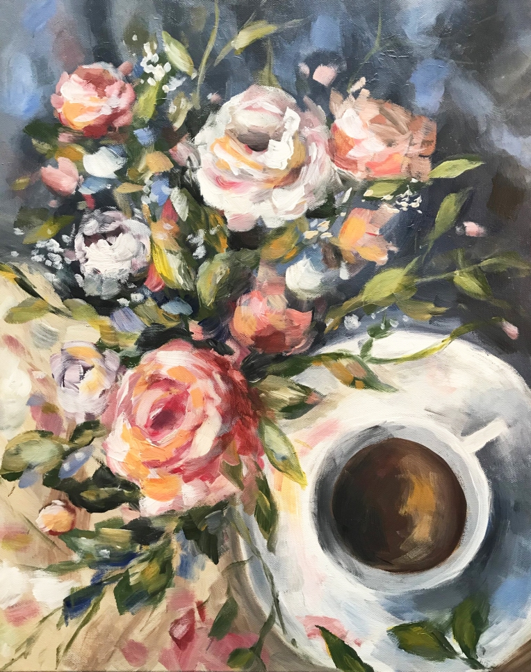 coffee floral still life painting