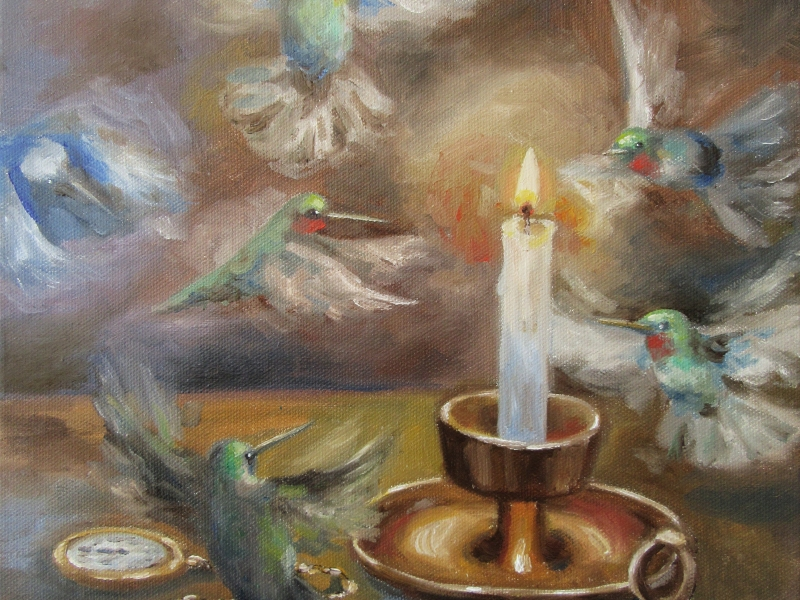 hummingbird flying surreal oil painting