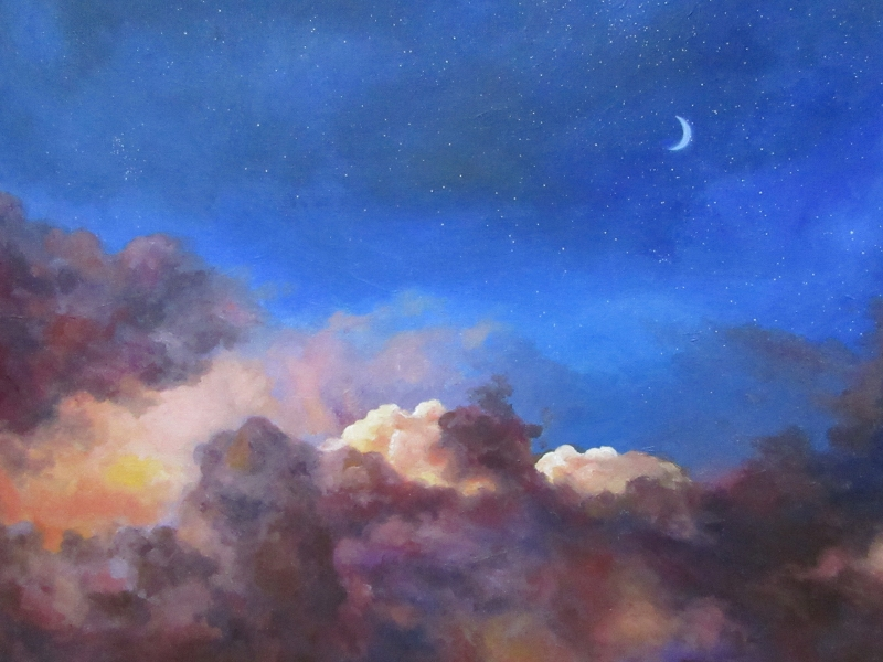 sunset clouds sky oil painting