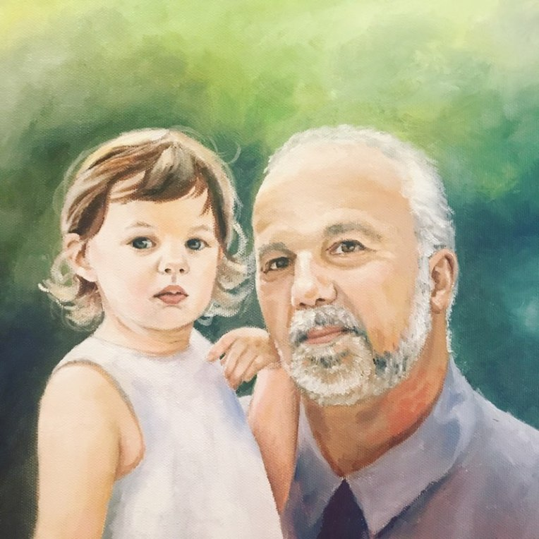 man and child portrait painting