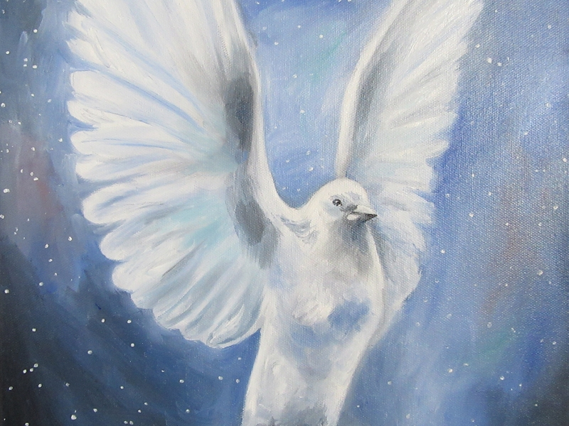 dove flying oil painting