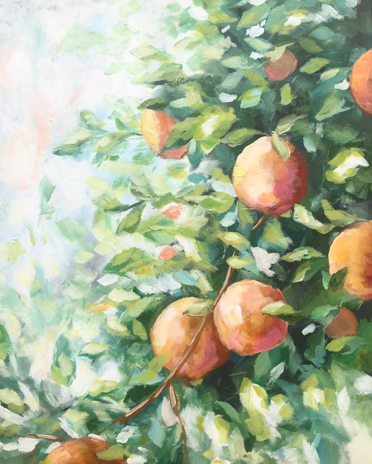 peach tree acrylic painting