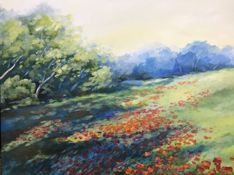 poppy field landscape painting