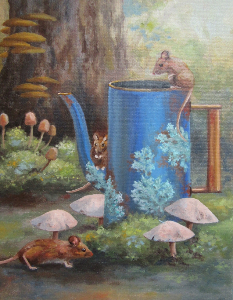 forest mice teapot painting