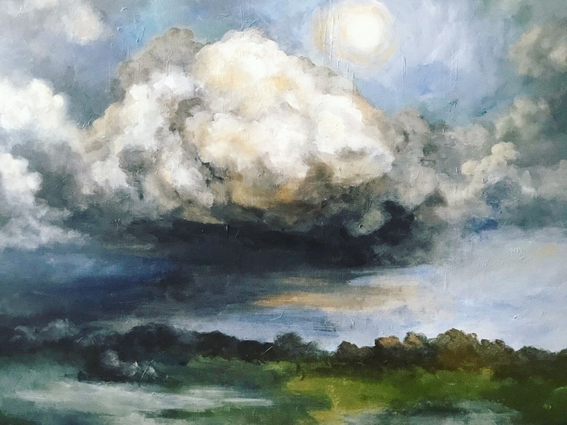 moonlight landscape cloud painting