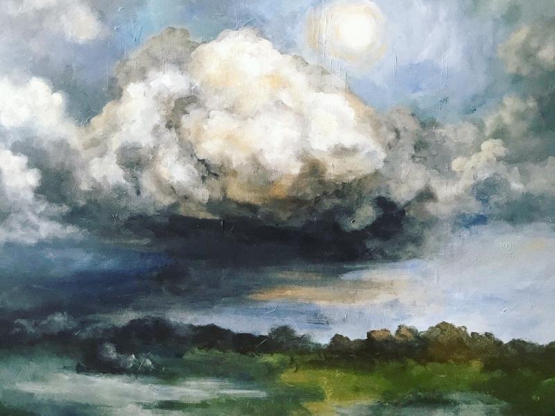 moonlight landscape cloud painting