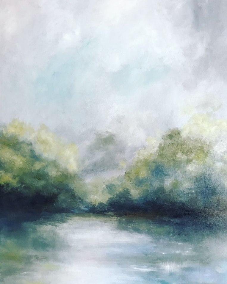morning mist landscape painting