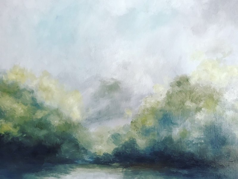 morning mist landscape painting