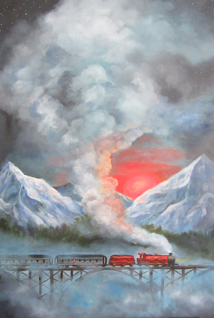 train mountain landscape oil painting