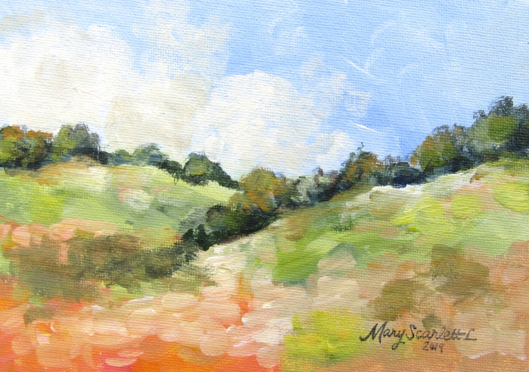 poppy field landscape acrylic painting