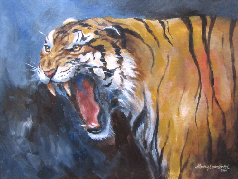 tiger roaring acrylic painting