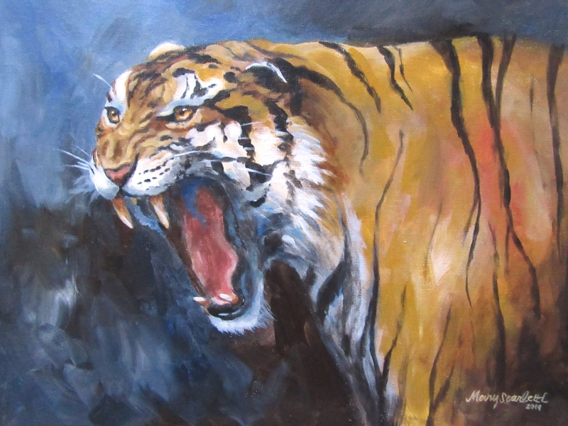 tiger roaring acrylic painting