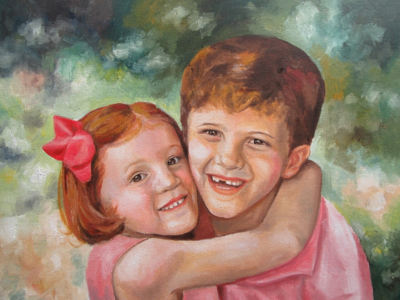 children siblings oil portrait