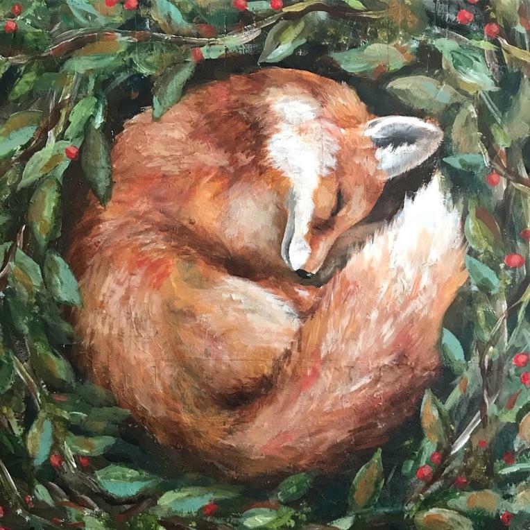 sleeping fox painting