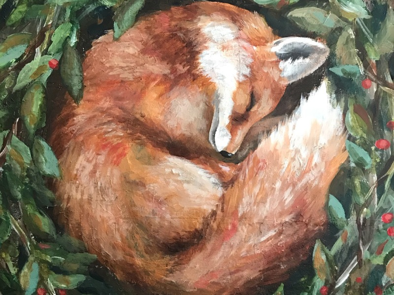 sleeping fox painting