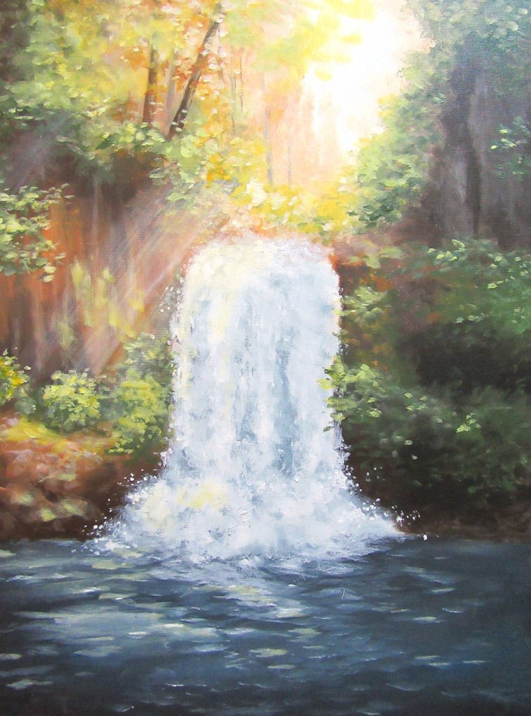 sunlight waterfall landscape painting
