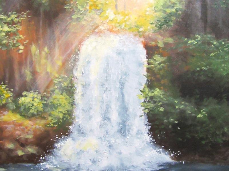 sunlight waterfall landscape painting