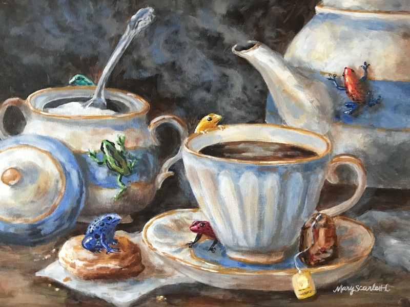 frog tea party oil painting