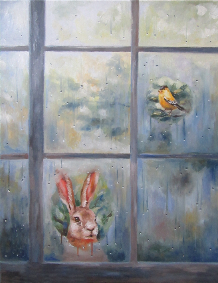 animals at window oil painting