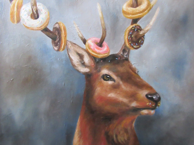 donut deer surreal oil painting