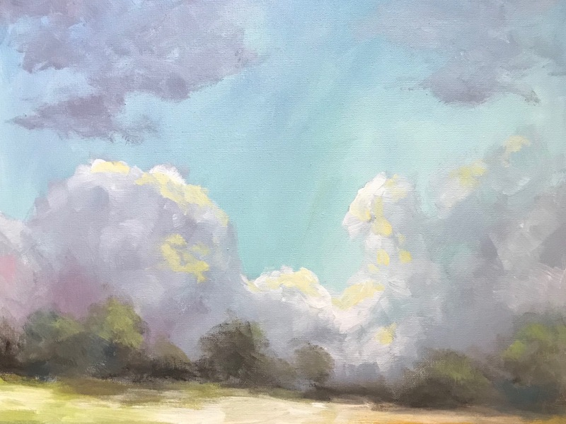 sky hillside landscape painting