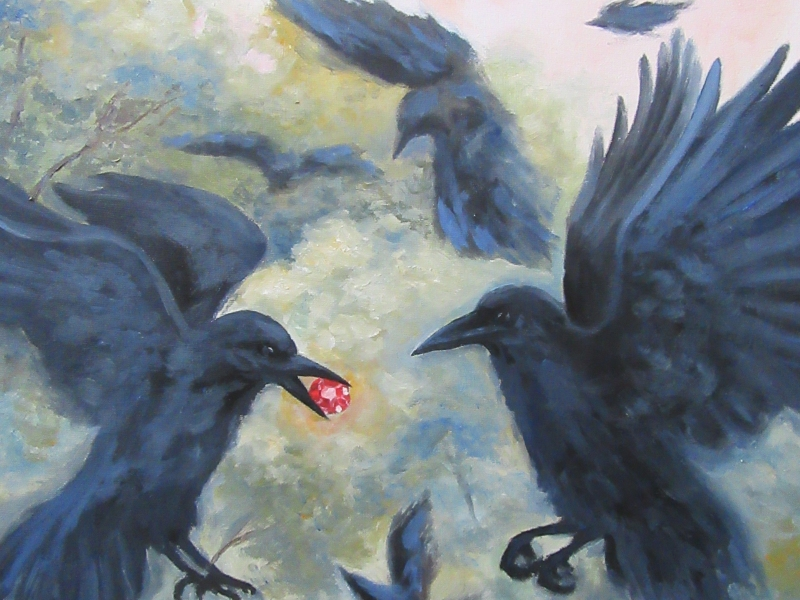 crow flying ruby oil painting