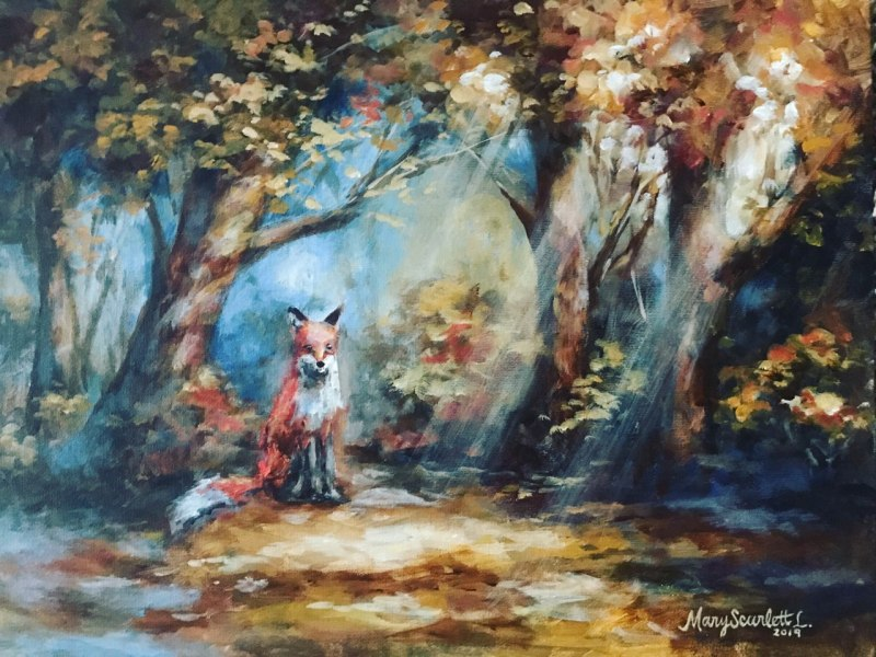 fox forest clearing painting