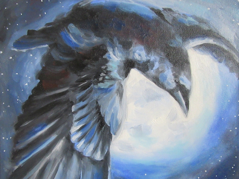 crow flying oil painting