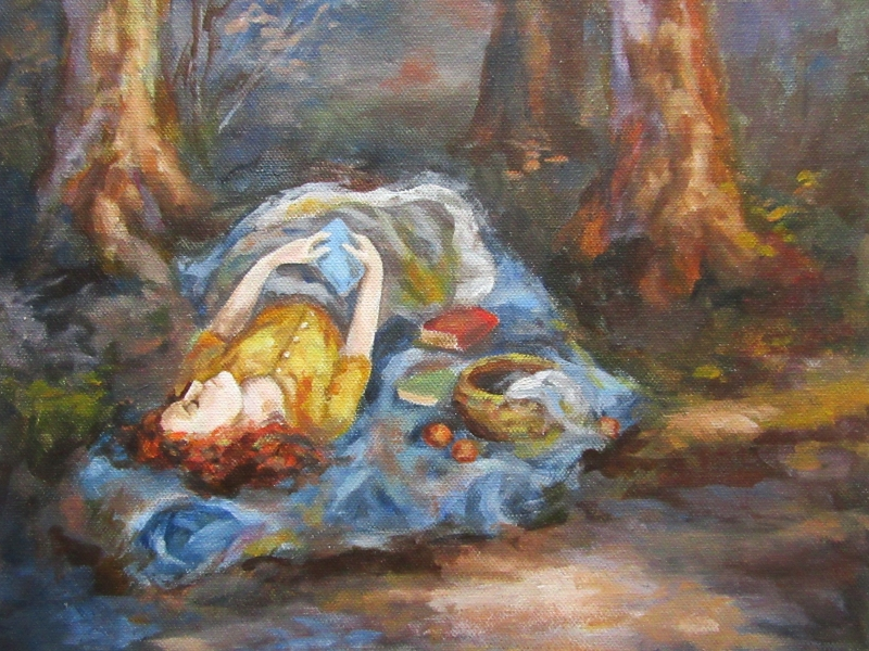 young woman sleeping portrait painting